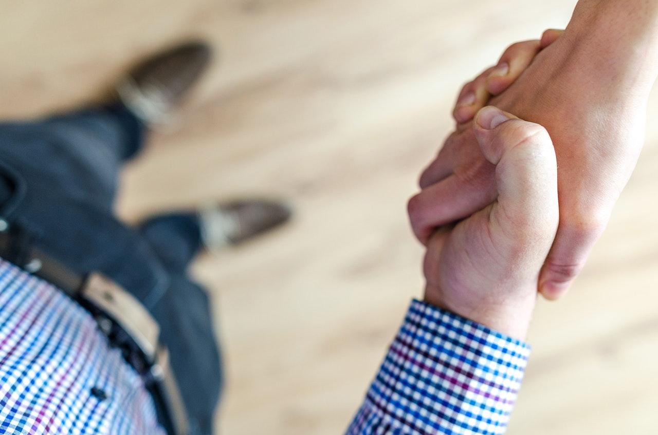 customer shaking hands